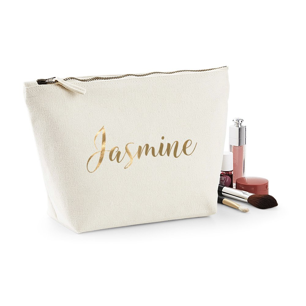 150acfc7e090 Personalised Canvas Makeup Bag with Gold or Silver lettering